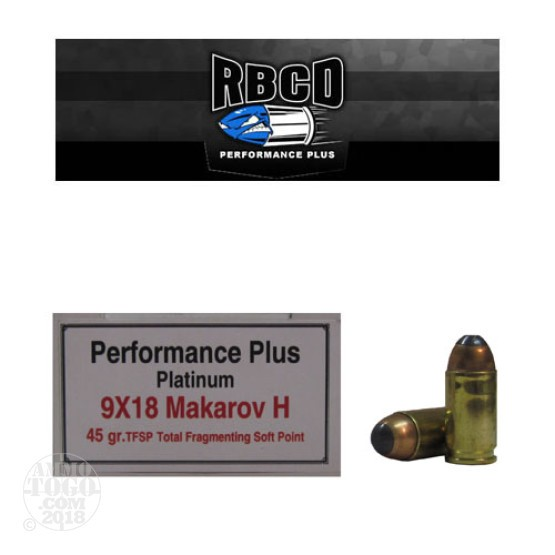 20rds - 9x18 Makarov RBCD Performance Plus 45gr Total Fragmenting Soft Point Ammo