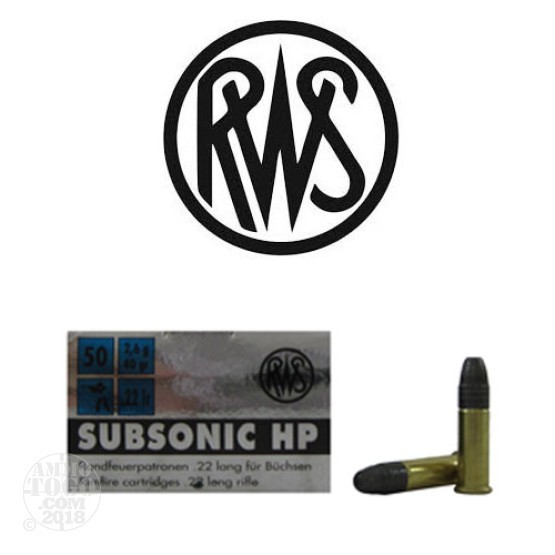 50rds - 22LR RWS Sub-Sonic 40gr. Hollow Point Ammo