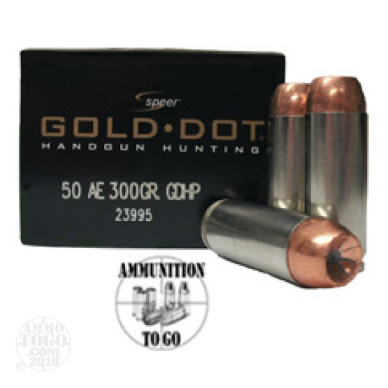 20rds - 50 AE Speer Gold Dot 300gr. HP Ammo