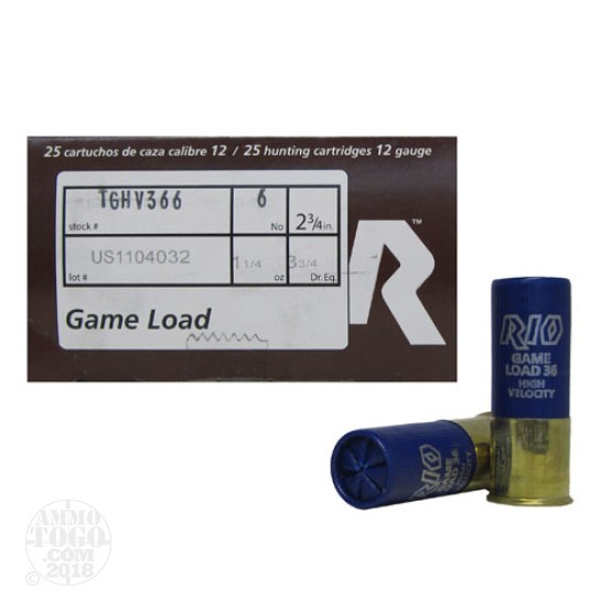 250rds - 12 Gauge Rio Top Game High Velocity #6 Shot Ammo
