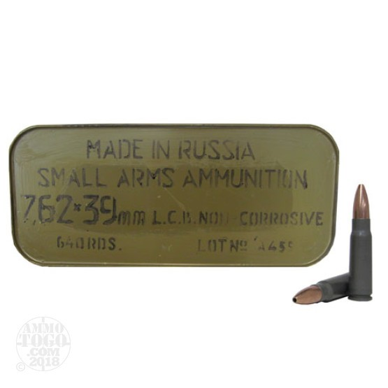 640rds - 7.62x39 Tula 122gr. HP Ammo In Sealed Spam Can