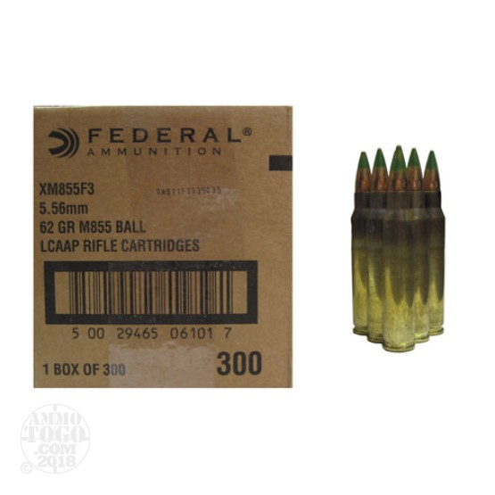 300rds - 5.56 Federal Lake City XM855 62gr. Penetrator Ammo