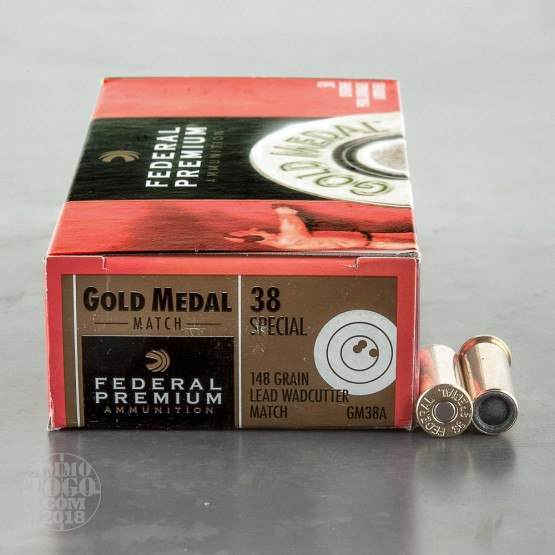 50rds - 38 Spec. Federal Premium Gold Medal 148gr Lead Wadcutter Match Ammo