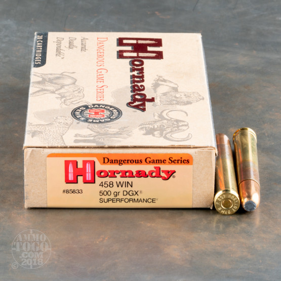 20rds - 458 Win. Mag. Hornady 500gr. DGX Superformance Ammo