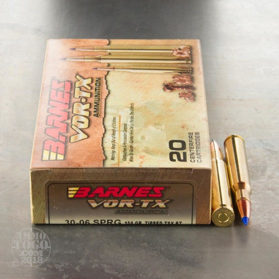 20rds - 30-06 Barnes VOR-TX Polymer Tip 150gr. Tipped TSX Boattail Ammo