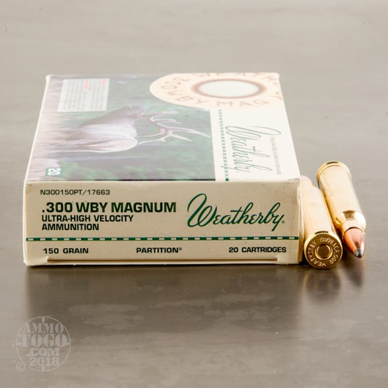 20rds – 300 Weatherby Mag Weatherby Ammunition 150gr. Nosler Partition Ammo