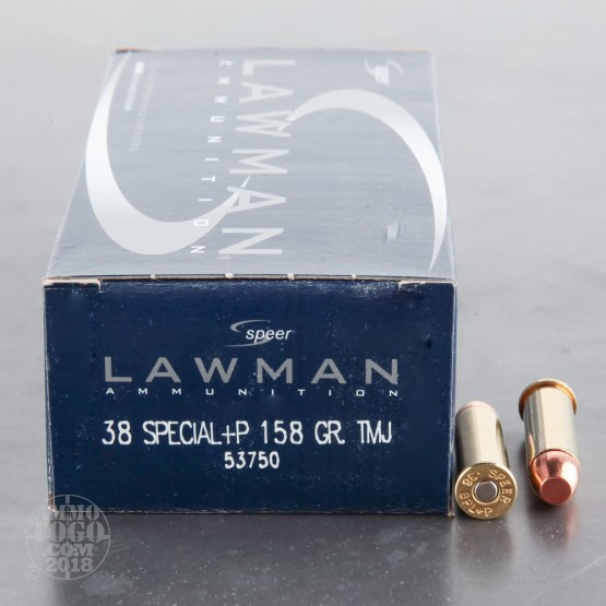 50rds - 38 Special Speer Lawman 158gr. +P TMJ Ammo