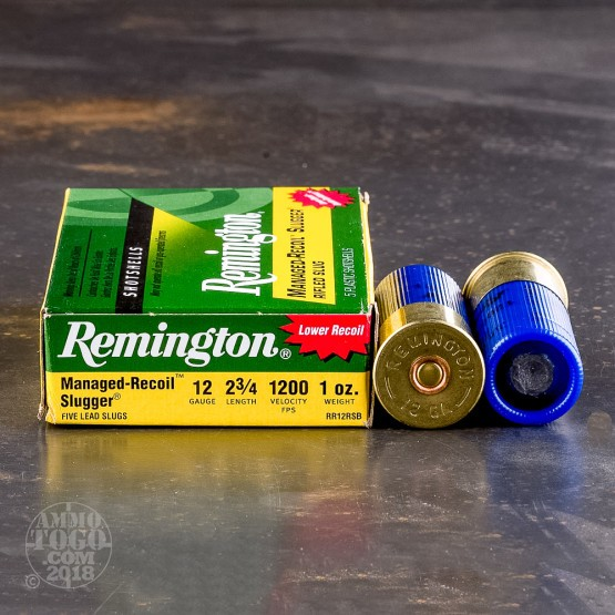 "5rds – 12 Gauge Remington Slugger Managed-Recoil 2-3/4"" 1 Oz Rifled Slug Ammo"