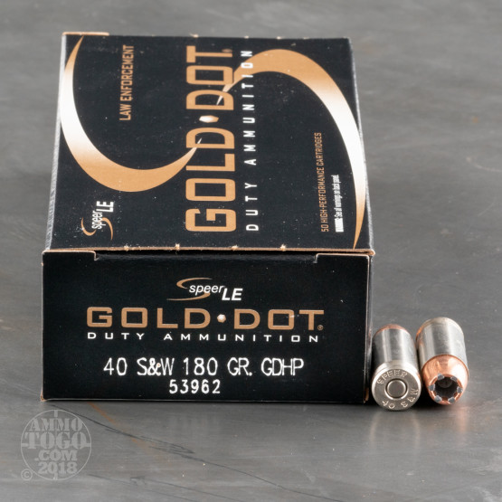 50rds - 40 S&W Speer LE Gold Dot 180gr. HP Ammo