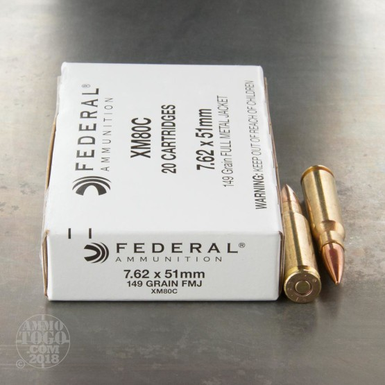 20rds - 7.62x51mm Federal XM80C 149gr. FMJ Ammo