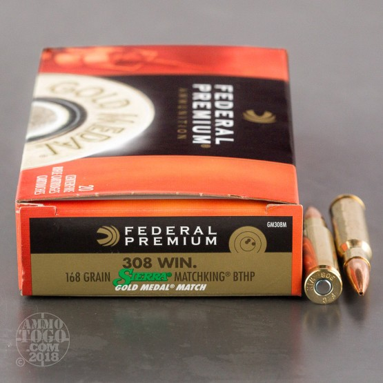 200rds - .308 Federal Gold Medal 168gr. Match Ammo