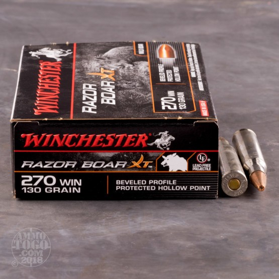 20rds - 270 Win Winchester Razorback XT 130gr. PHP Ammo