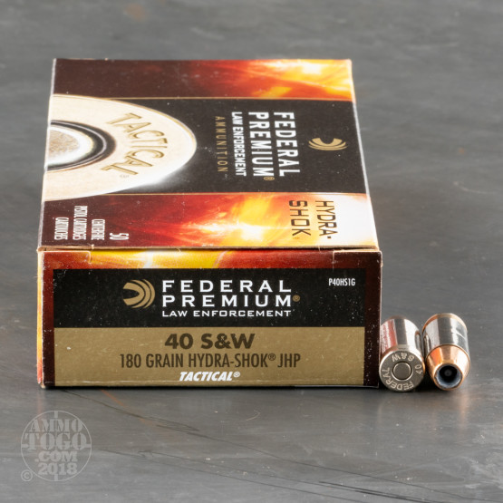50rds – 40 S&W Federal LE Tactical 180gr. Hydra-Shok JHP Ammo