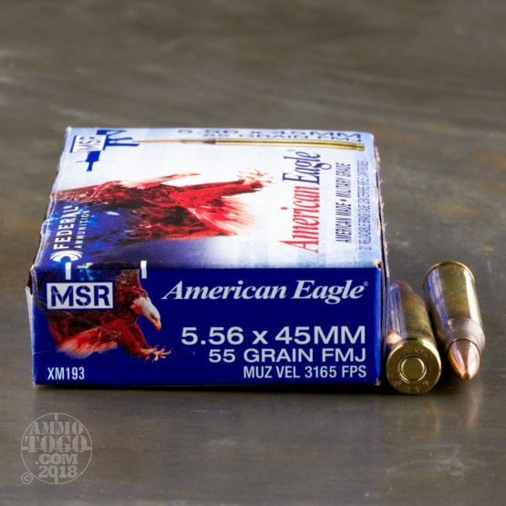 500rds - 5.56 Federal Lake City (American Eagle) XM193 55gr. FMJ Ammo