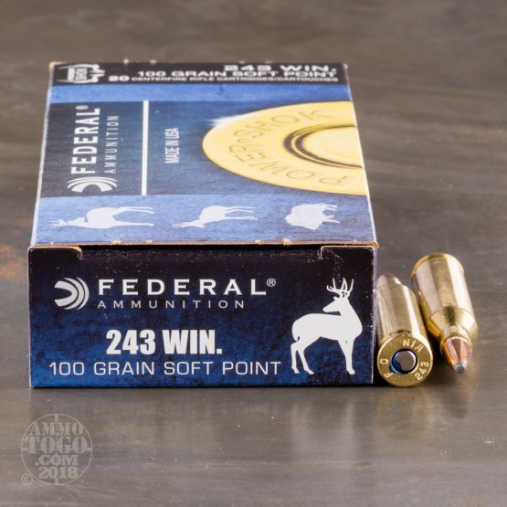 20rds - .243 Win. Federal Power-Shok 100gr. SP Ammo