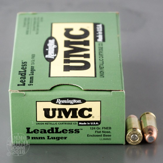 50rds - 9mm Remington UMC 124gr. Flat Nose Enclosed Base Leadless Ammo