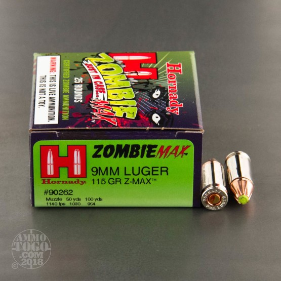 250rds - 9mm Hornady Zombie Max 115gr. Z-MAX Ammo