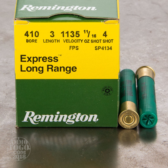 "25rds - 410 Gauge Remington Express Long Range 3"" 11/16oz. #4 Shot Ammo"