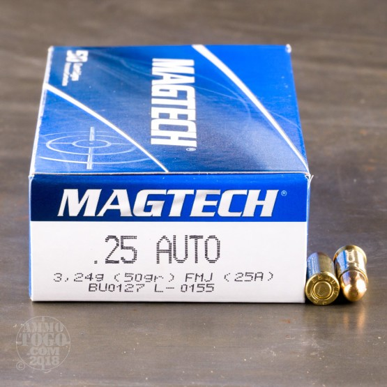 50rds – 25 Auto Magtech 50gr. FMJ Ammo