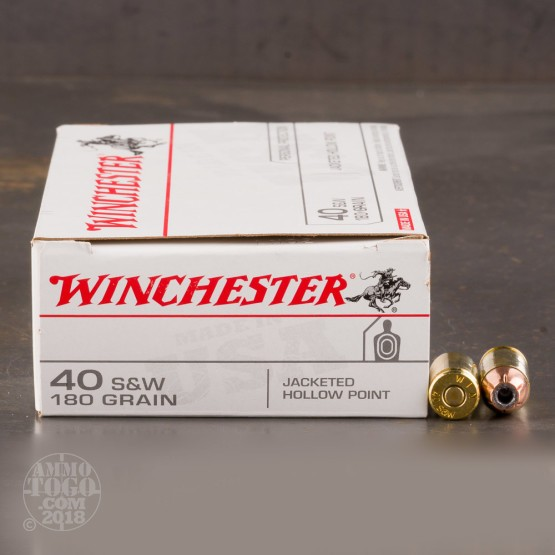 50rds - 40 S&W Winchester USA 180gr. HP Ammo