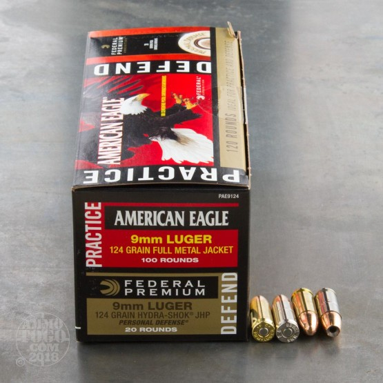 120rds - 9mm Federal American Eagle 124gr. FMJ and Hydra-Shok 124gr. JHP Ammo