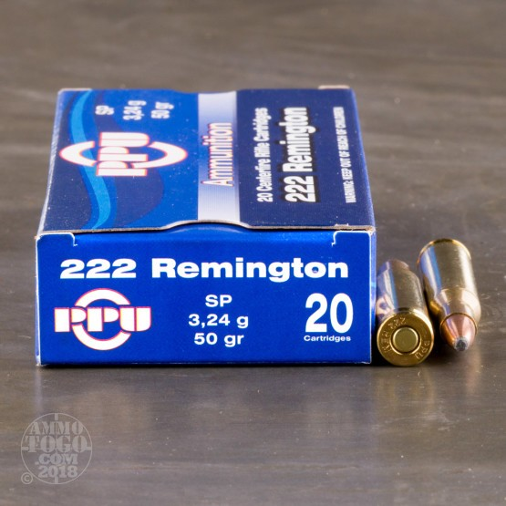 200rds - .222 Rem. Prvi Partizan 50gr. Soft Point Ammo