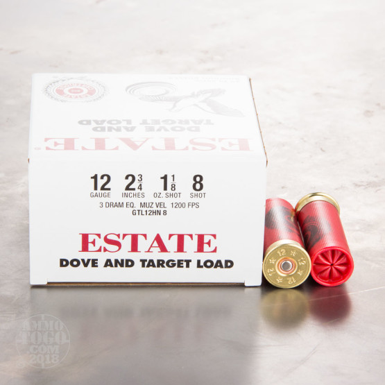 "25rds - 12 Gauge Estate 2 3/4"" 3"" Dram 1 1/8oz. #8 Shot Ammo"