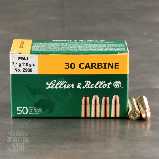 50rds - .30 Carbine Sellier & Bellot 110gr. FMJ Ammo
