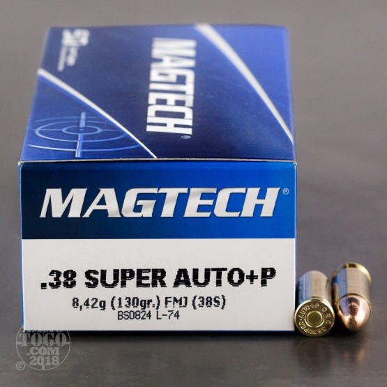 50rds - 38 Super Auto Magtech 130gr. +P Full Metal Jacket Ammo