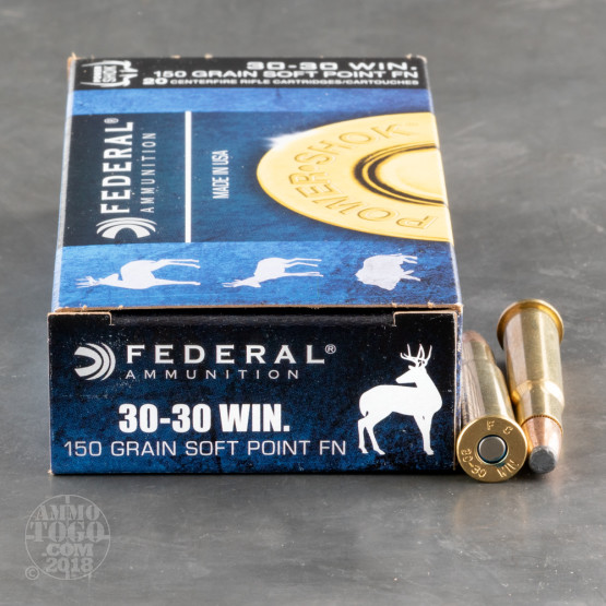 20rds - 30-30 Federal Power-Shok 150gr. SP FN Ammo