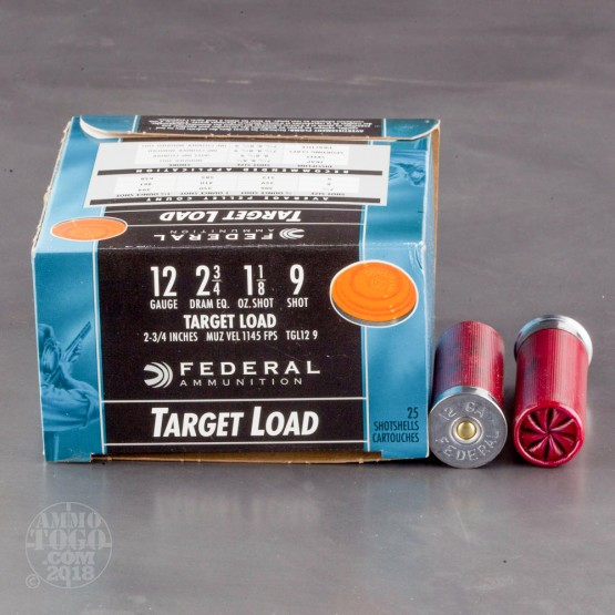 "25rds - 12 Gauge Federal Top Gun Target Load 2 3/4"" 1 1/8oz. #9 Shot Ammo"