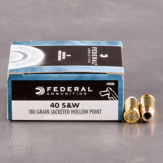 20rds - 40 S&W Federal Classic 180gr. Hollow Point Ammo