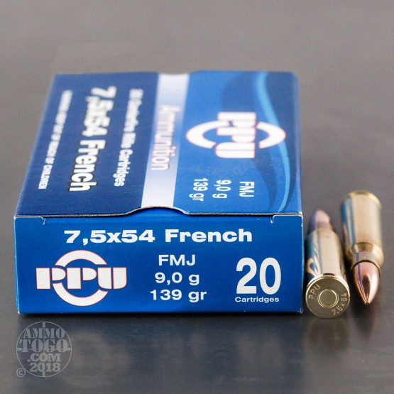20rds - 7.5 French Mas Prvi Partizan 139gr. FMJ Ammo