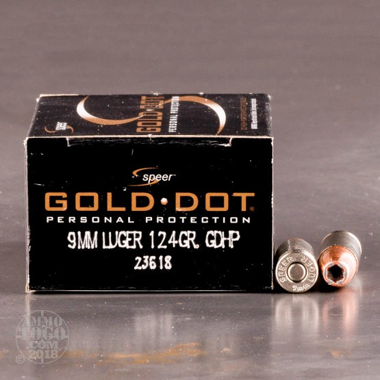 20rds - 9mm Speer Gold Dot 124gr. HP Ammo