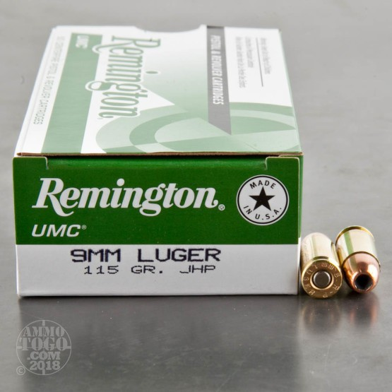 50rds - 9mm Remington UMC 115gr. Jacketed Hollow Point Ammo