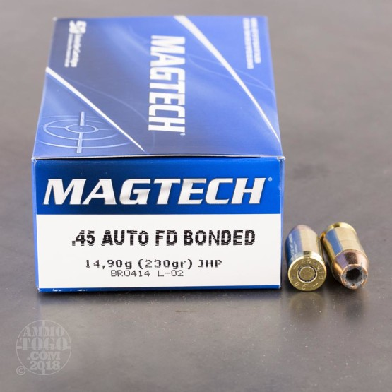 50rds - 45 ACP Magtech Bonded 230gr. JHP Ammo