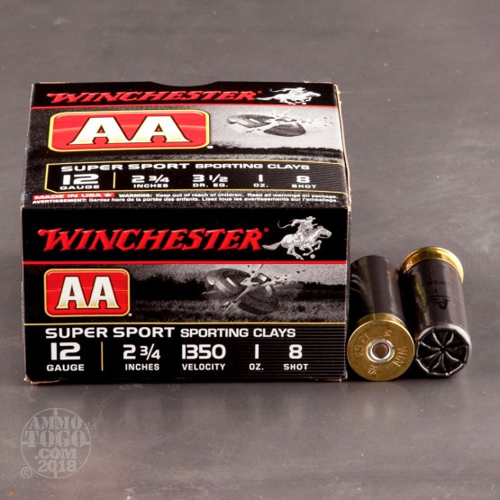 """25rds - 12 Gauge Winchester AA Super Sport Sporting Clay 2-3/4"""" 1 Ounce #8 Shot Ammo"""
