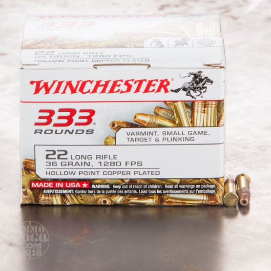 333rds - 22LR Winchester 36gr. Copper Plated Hollow Point Ammo