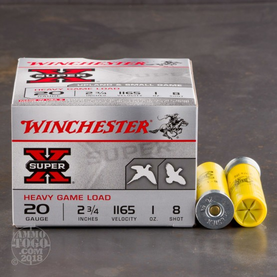 """250rds - 20 Gauge Winchester Super-X Heavy Game Load 2 3/4"""" #8 Shot Ammo"""