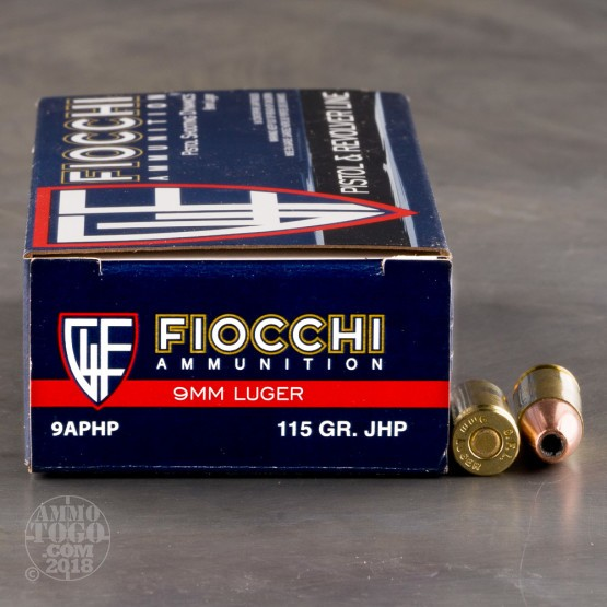 Fiocchi 9mm 115 Grain JHP - 1000 Rounds