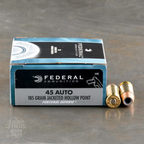 50rds – 45 ACP Federal Personal Defense 185gr. JHP Ammo