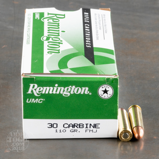 50rds - 30 Carbine Remington UMC 110gr. FMJ Ammo