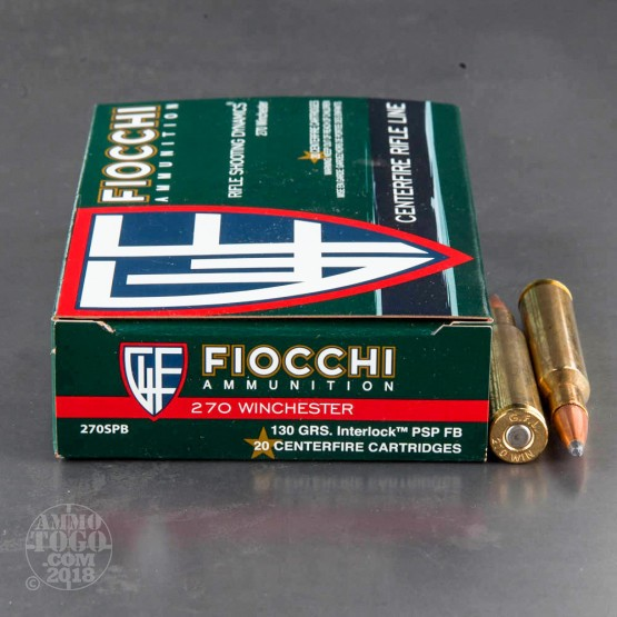 20rds - 270 Win Fiocchi 130gr Pointed Soft Point Ammo