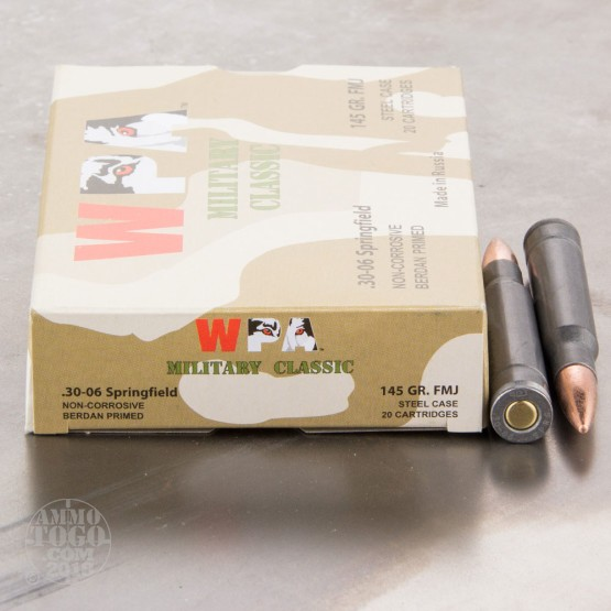 500rds - 30-06 WPA Military Classic 145gr. FMJ Ammo