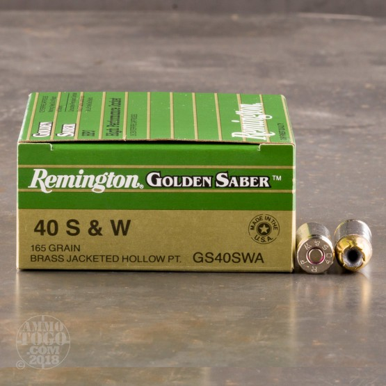 500rds - 40 S&W Remington Golden Saber 165gr. JHP Ammo
