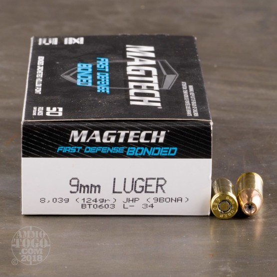 50rds – 9mm Magtech First Defense 124gr. Bonded JHP Ammo