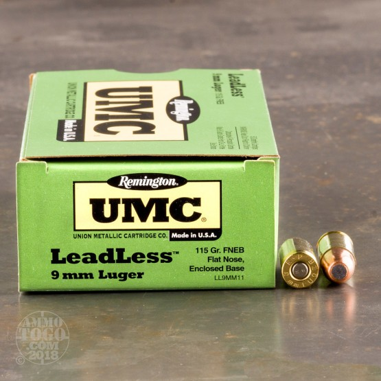 50rds - 9mm Remington UMC 115gr. Flat Nose Enclosed Base Leadless Ammo