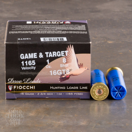 """25rds - 16 Gauge Fiocchi Game and Target 2-3/4"""" 1oz. #8 Shot Ammo"""