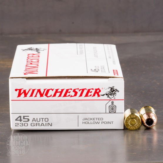 50rds - 45 ACP Winchester USA 230gr. Jacketed Hollow Point Ammo