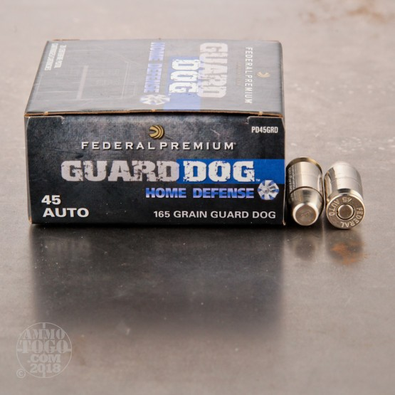 20rds - 45 ACP Federal Premium Guard Dog Home Defense 165gr. EFMJ Ammo